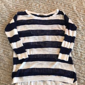 Blue and White Express loose knit pullover
